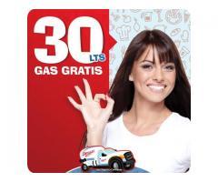 30 litros de Gas Gratis