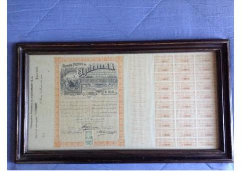 100 títulos Cia.Petrolera de El Aquismón, S.A. (1916)